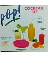 POP Cocktail Set Silicone Pool & Outdoor Safe Unbreakable Barware Fun Co... - $9.89