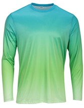 Sun Protection Long Sleeve Dri Fit Graphite Aqua Blue Lime fade shirt SPF 50+ image 1