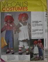 Raggedy Ann and Andy Costumes McCalls 7743 Sizes Adults Costumes S M L  - $11.00