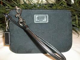 Coach Signature Jacquard Wristlet Wallet Pouch Leather Trim Black NWOT - $22.00