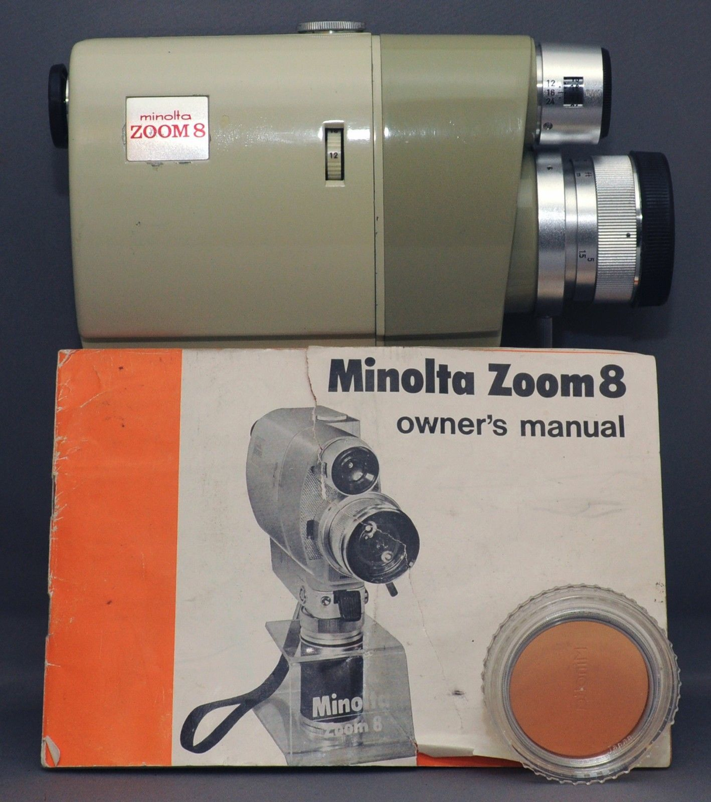 MINOLTA ZOOM 8 Vintage Movie Camera 8mm ROKKOR 1.8 9mm 10-30mm Lens Japan CLEAN!