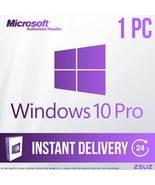 Microsoft Windows 10 Pro Professional Full Retail Version 32/64-Bit Digi... - $29.99