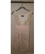 BCBGMaxazria Gold Sequin V-Neck Sleeveless Part... - $148.50