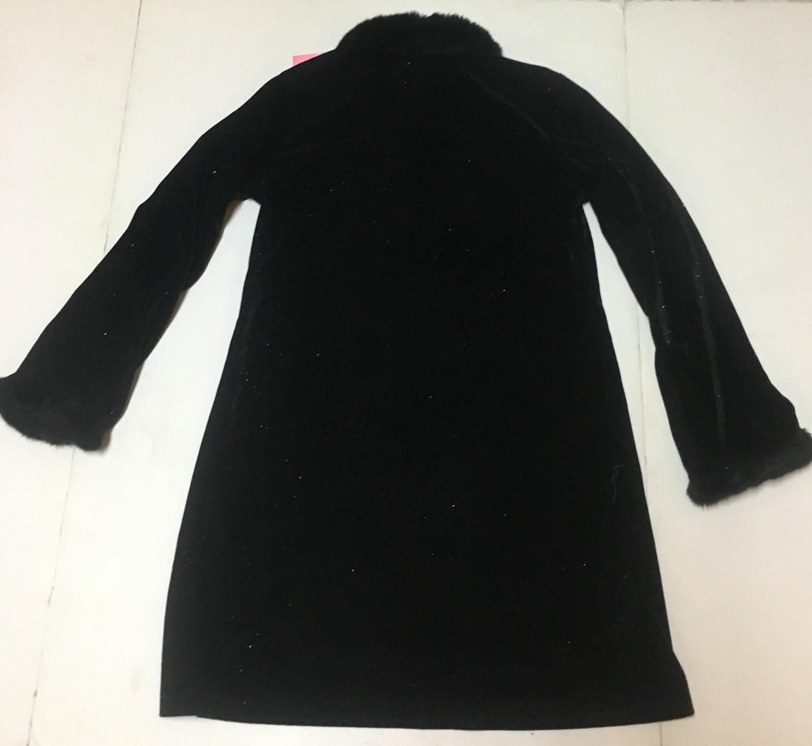 Camp Beverly Hills Black Sparkly Dress Sz 10/12 Faux Fur Trim