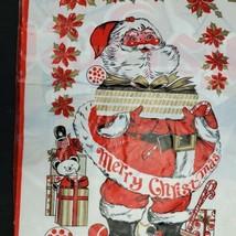 Vtg Mid Century 30x60 Christmas Santa Plastic Vinyl Wall Art Poster Door... - $14.46