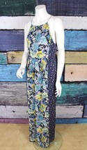 New Joie Anthropologie Blue Floral Patchwork Silk Boho Festival Maxi Dre... - $140.24