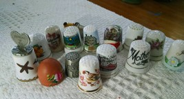 Lot of 14 Sewing Thimbles - Advertising, Vintage, Metal, Porcelain, Clay... - $9.74