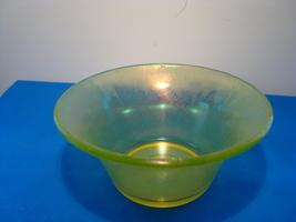 Fenton topaz Iridescent vaseline stretch glass fruit bowl. - $25.00