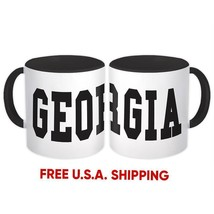 Georgia : Mug Flag College Script Calligraphy Country Gift Georgian Expat - $13.76+