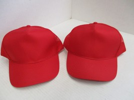 1 PAIR OF NEW ALL RED CAPS/HATS-THIN RED ROPE-5 PANEL-TRUCKER-SNAP-MOHR'... - $5.90