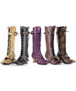 Hades VINTAGE Knee Boots 5 COLORS Steampunk Metal Heel Lace Up Flame Buc... - $119.00