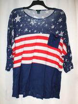 New Womens Plus Size 3X Blue Stars & Stripes Memorial Day Dolman Shirt Top - $18.37