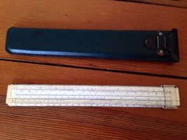 Vintage Keuffel & Esser K&E Co Slide Rule Green Plastic Wood w Leather C... - $63.99