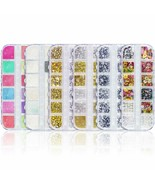 4 Boxes 12 Grids Nail Art Rhinestones - Gold Metal Studs With Nail Powde... - $16.82