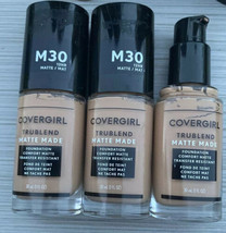 Covergirl Trublend Matte Made Foundation M30 Honey Miel12 Hour Lot Of 3 New - $17.99