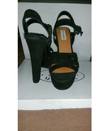 Brand New in Box Steve Madden Dayglow black Suede Strap Platform High He... - $89.10