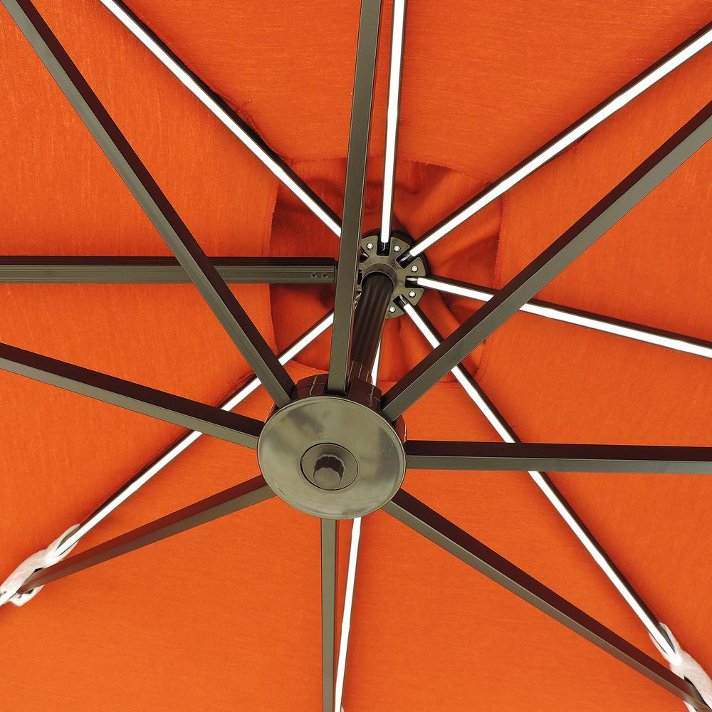 Island Umbrella Square Cantilever Solar Patio Umbrella 10 ft. LED Lights Orange