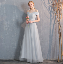 Floor Length Maxi Bridesmaid Dresses Tulle Wedding Dress Light Gray Off Shoulder image 3