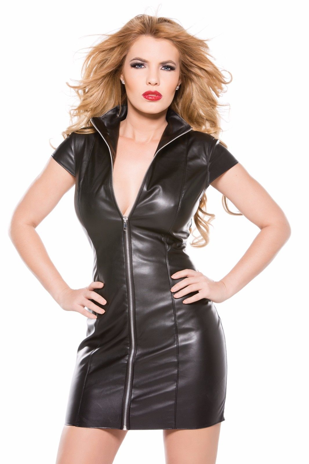 Black Friday Women New Designer Style Cocktail Real 100% Lamb Leather Dress 122