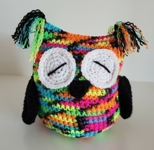 Handmade Owl Crochet Florescent Multicolor Bird Toy Doll Plush Handcrafted  - $9.99