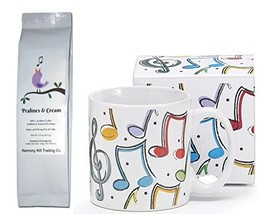 Music Notes Musician Coffee Mug Cup with Singing Bird Pralines and Cream... - $22.34
