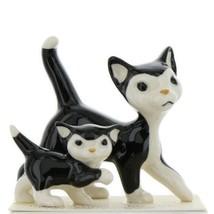 Hagen Renaker Cat Black and White Tuxedo Papa and Kitten Ceramic Figurines