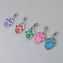 """1-1/8"""" x 1"""" (31mm) Paw Print Charm Pendant with Lobster Claw Clasp Cat D... - $3.59"""