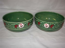 """Made in Portugal Christmas Green Holly Berry ceramic Bowls 8""""  Set of 2 New - £14.44 GBP"""