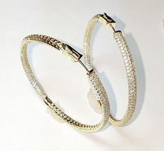 """2.5"""" Pave Set Signity Cz Cubic Zirconia Hoop Gold Plated Earrings-60mm-BIG - $74.24"""