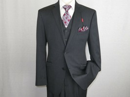 Men Suit ADOLFO 3Pc 100% Soft Wool Vested Business Formal 2 Button 1608 ... - $180.80