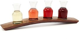 Wine Tasting Flight, 4 Glass Carafes On French Oak Barrel Stave Stand Sa... - $84.48