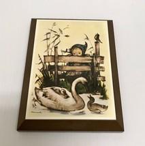 ❤️VINTAGE HUMMEL GIRL SWAN DUCKS WOODEN WALL ART PRINT HANGING PLAQUE PI... - $13.50
