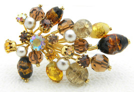 Vintage KRAMER Made in Austria Topaz Gripoix Foil Art Glass Brooch Rhine... - $83.16