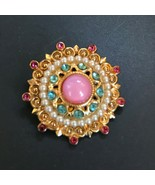 Vintage Small Layered Goldtone Pink & Blue Rhinestone w Faux White Pearl... - $11.29