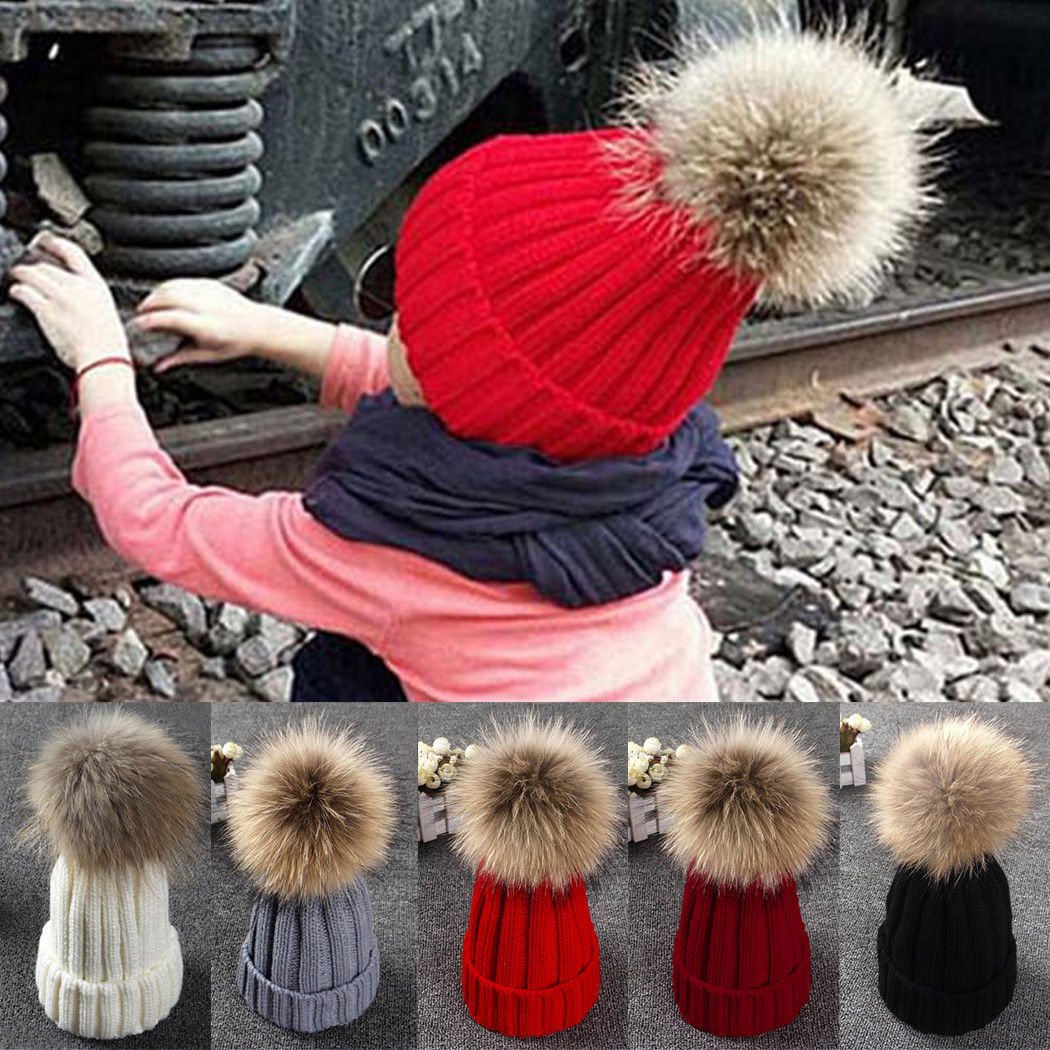 bba21163885fe Children Winter Caps 2017 Solid Stripes Knitted Pompom Head Wear Christmas  Gifts