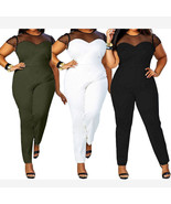 Womens Sexy Ladies Bodycon Jumpsuit Club Bodysuit Playsuit Clubwear Plus... - $16.99