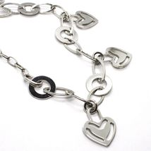925 Silver Necklace Chain Oval, Waterfall, Hearts Flat pendants, heart image 3