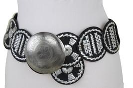 Women Black Wide Waistband Ethnic Fashion Bohemian Belt Silver Metal Buckle M - $22.53