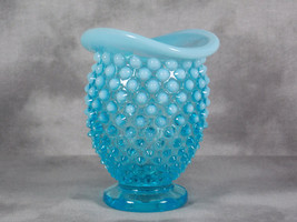Early Fenton Glass Blue Opalescent Hobnail Top Hat Bud Vase #389, Saddle Crimp M - $41.00