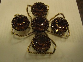 MARKED FREIRICH LARGE BROOCH LARGE WINE COLORED RHINESTONES - $64.35