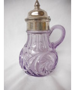 Antique Purple Sunglass Crystal Syrup Pitcher Amethyst with lid L@@K - $88.11