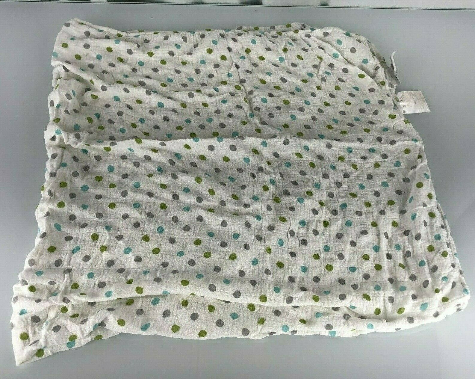 Primary image for Aden + Anais Baby Boy Blanket Rayon Bamboo Swaddle Blue Green Gray White Dots