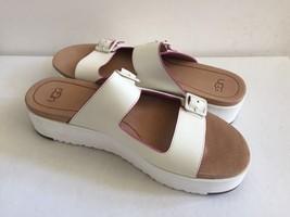 Ugg Hanneli White Platform Wedge Slide Leather Slippers Us 8.5 / Eu 39.5 / Uk 7 - $70.13
