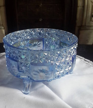 L.E Smith Ice Blue Carnival Glass iridescent button daisy  3 footed bowl - $80.00