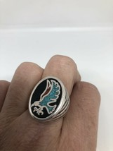 Vintage Men's Hawk Ring Silver White Bronze Black Turquoise Inlay Size 6.25 - $39.60