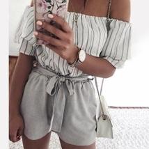 New grey high waist women shorts with belt spring summer gray casual plu... - $22.00