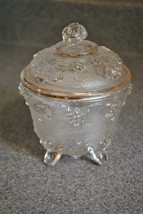 Vintage Jeannette Clear Depression Glass Footed Candy Dish w/ Lid and Go... - $11.29