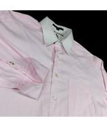 Tommy Hilfiger Pink Check Dress Shirt White Collar French Cuff Sz 16 1/2... - $26.99