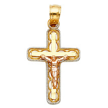 14k Two-tone Solid Gold Crucifix Religious Pendant - $70.99