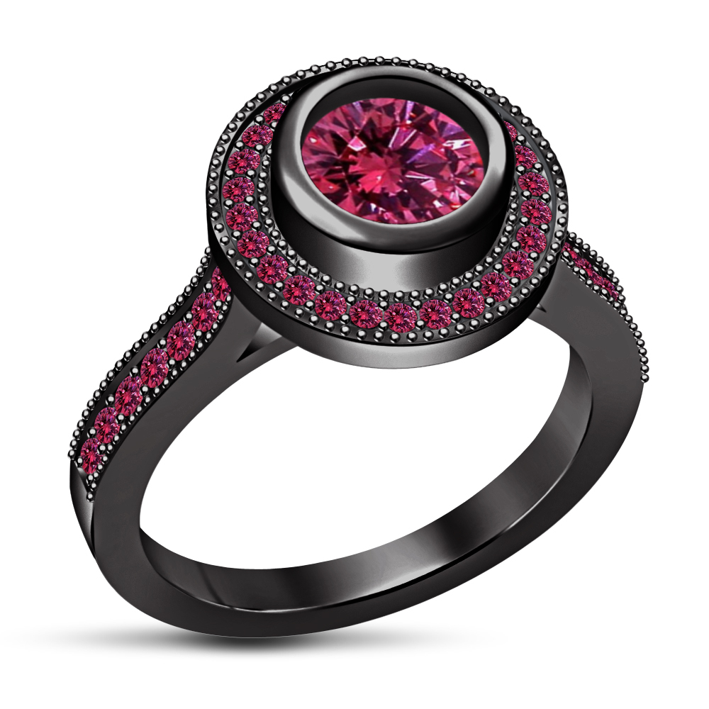 Gorgeous Round Pink Sapphire 14k Black GP 925 Silver Solitaire With Accents Ring